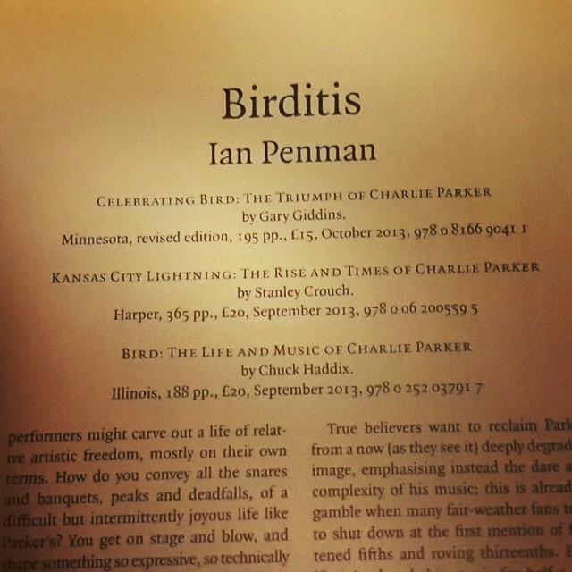 #charlieparker #bird #jazz #lrb #ianpenman #book #kitap #caz