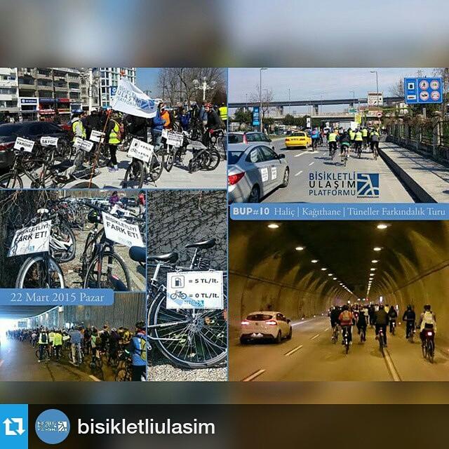 #Repost @bisikletliulasim ・・・ Güzel ve güneşli bir havada, etkin bir kalabalık oluşturarak ana caddelerden ve bu defa ana ulaşım tünellerinden geçtik. 'Bisiklet giremez' denilen tünellere bisikletin girebildiğini ve tünellerin #bisikletliulaşım  için ne kadar uygun olduğunu hep birlikte gösterdik. Sloganlarımız, zillerimiz, düdüklerimiz ve elbette bisikletlerimizle gerçerkleştirdiğimiz 10. #farkındalık turumuza katılan ve destek veren herkese çok teşekkür ediyoruz.  #bisiklet #bicycle #bicicleta #velo #instabike #awareness #bicycletour #bikestagram #istanbul #220315 #sunday #pazar #bup #bisikletliulasim #bisikletliulasimplatformu